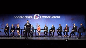 Conservative leadership candidate Michael Chong speaks during the Conservative Party of Canada leadership debate in Toronto on Wednesday April 26, 2017. (Nathan Denette / THE CANADIAN PRESS)