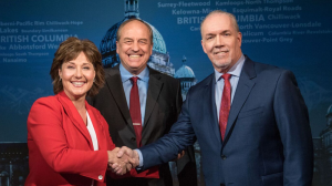 Liberal Leader Christy Clark, Green Leader Andrew Weaver and NDP Leader John Horgan shake hands ahead of the first and only live televised leaders debate of the 2017 election. (B.C. Broadcast Consortium)