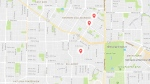 The attacks occurred in East Vancouver between midnight and 2 a.m. Wednesday, April 26, 2017. (Google Map)