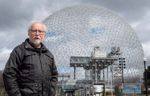 Historian Roger La Roche is seen before the Biosphere, the former United States pavilion at Expo '67, Monday, April 17, 2017 in Montreal. (Paul Chiasson / THE CANADIAN PRESS)