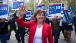 B.C. Liberal Leader Christy Clark arrives for a leaders debate in Vancouver, B.C., on Wednesday April 26, 2017. A provincial election will be held on May 9. (THE CANADIAN PRESS / Darryl Dyck)