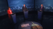 Christy Clark, Andrew Weaver and John Horgan participate in a televised leaders debate on Wednesday, April 26, 2017. (CTV)