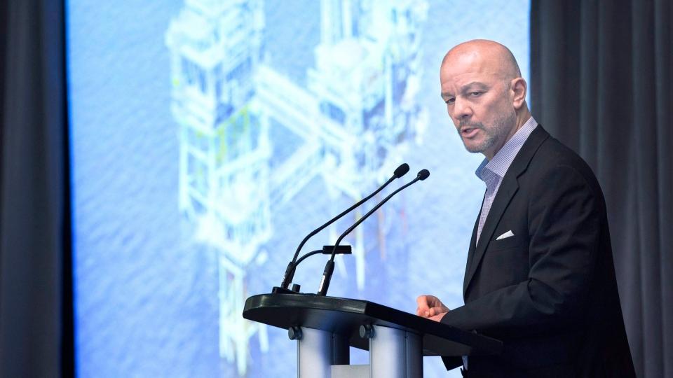Friedrich Krispin, Sable Offshore Energy Project decommissioning manager from ExxonMobil Canada, addresses a business conference in Halifax on Wednesday, April 26, 2017. (THE CANADIAN PRESS/Andrew Vaughan)