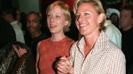 In this June 19, 1997 file photo, actress-comedian Ellen DeGeneres, right, and actress Anne Heche arrive at the world premiere of the film 'Face/Off,' in the Hollywood section of Los Angeles. (AP Photo/Chris Pizzello, File)
