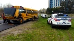 Police say the rear wheels of a school bus carrying dozens of young children was very close to flying off on the Don Valley Parkway on Wednesday.