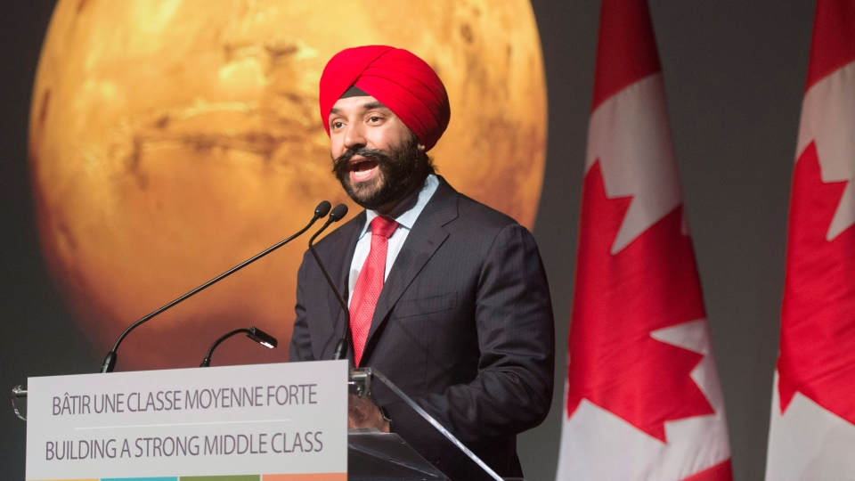 Minister of Innovation, Science and Economic Development Navdeep Bains announces new funding at the Canadian Space Agency headquarters, Thursday, April 27, 2017 in St. Hubert, Que.THE CANADIAN PRESS/Ryan Remiorz