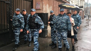 Special police officers arrive at the office of Open Russia in Moscow, Russia, Thursday, April 27, 2017. (Open Russia Photo via AP)