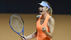 Maria Sharapova reacts during her match against fellow Russian Ekaterina Makarova, at the Porsche Tennis Grand Prix tournament in Stuttgart, Germany, Thursday April 27, 2017. (Bernd Weissbrod/dpa via AP)