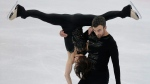 Meagan Duhamel and Eric Radford at the World figure skating championships in Helsinki, Finland, on March 29, 2017. (Ivan Sekretarev / AP)