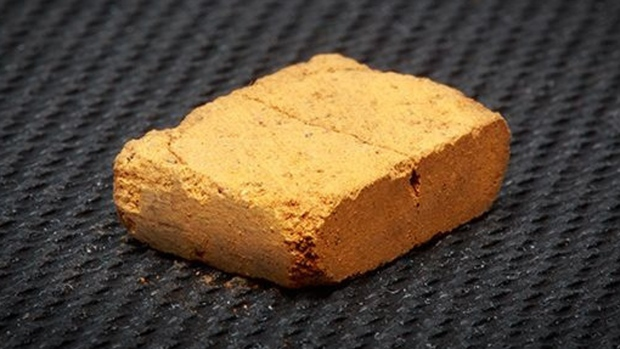A brick made with Martian-like soil