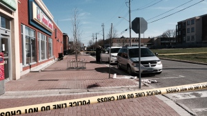 Roads were closed on Montreal Road after a stabbing on Thursday, Apr. 27, 2017. (Peter Szperling/CTV Ottawa)