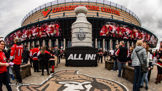 #GoSensGo - Ottawa Senators fans congregate outside the Canadian Tire Centre during Stanley Cup Playoffs on Friday, Apr. 21, 2017. (CTV Viewer)