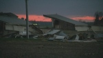A neighbour is blaming strong winds for the collapse of a barn near Milverton.