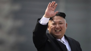 North Korean leader Kim Jong Un waves during a military parade in Pyongyang, North Korea, to celebrate the 105th birth anniversary of Kim Il Sung, the country's late founder and grandfather of current ruler Kim Jong Un on Saturday, April 15, 2017. (AP / Wong Maye-E)