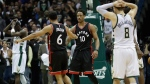 Toronto Raptors' DeMar DeRozan (10) and Cory Joseph celebrate after Game 6 of an NBA first-round playoff series basketball game against the Milwaukee Bucks Thursday, April 27, 2017, in Milwaukee. The Raptors won 92-89 to win the series. (AP / Morry Gash)
