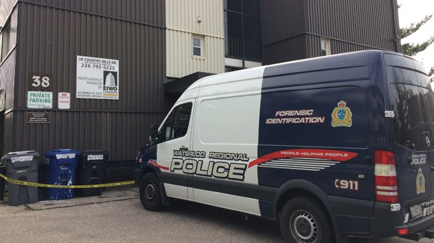 The forensic unit was on scene at the apartment on Country Hill Drive Friday morning. (Jeff Pagett/ CTV Kitchener)