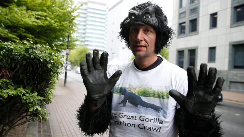 Tom 'Mr Gorilla' Harrison poses in London, on April 27, 2017. (Alastair Grant / AP)