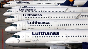 Lufthansa aircraft in Frankfurt, Germany, on April 2, 2014. (Michael Probst / AP)