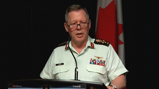 Chief of Defence Staff Gen. Jonathan Vance speaks to the media in Ottawa, Friday, April 28, 2017.