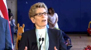 Premier Kathleen Wynne is seen speaking with reporters on April 28, 2017. (CP24)