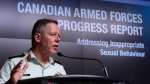 Jonathan Vance, the Chief of the Defence Staff speaks during a Canadian Armed Forces press conference at the National Defence Headquarters in Ottawa on Friday, April 28, 2017. THE CANADIAN PRESS/Sean Kilpatrick