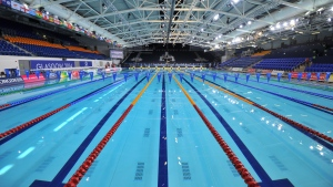 The Royal Commonwealth Pool in Glasgow, Scotland on July 22, 2014 (AFP PHOTO/BEN STANSALL)