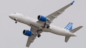 The Bombardier CS 300 performs its demonstration flight during the Paris Air Show, at Le Bourget airport, north of Paris, Monday, June 15, 2015. (AP PHOTO / Francois Mori)