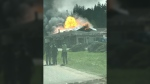 Firefighters were called to a massive blaze at French Creek Bakery, just off Highway 19A in the mid-island town, at around 12:30 p.m. Friday, April 28, 2017. (CTV Vancouver Island)