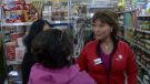 Liberal Leader Christy Clark has an awkward but brief interaction with a non-supporter at a grocery store in North Vancouver, B.C. April 27, 2017. (CTV)