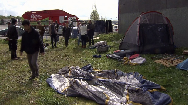 """The vacant lot at 950 Main Street in Vancouver is being dubbed the """"Ten Year Tent City"""" because it was the site of a homeless encampment a decade ago."""