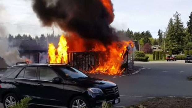 A Parksville bakery that exploded into a tower of flames in a frightening scene Friday is being investigated as suspicious. April 28, 2017. (CTV Vancouver Island)