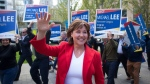 B.C. Liberal Leader Christy Clark arrives for a leaders debate in Vancouver, B.C., on Wednesday April 26, 2017. THE CANADIAN PRESS/Darryl Dyck