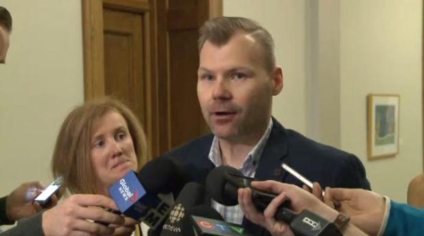 Dustin Duncan, the minister responsible for SaskTel, speaks to media at the Saskatchewan Legislative Building in Regina on Friday, April 28, 2017.