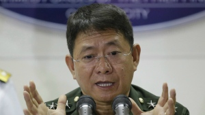 Philippine military chief of staff Gen. Eduardo Ano gestures during a press conference at Camp Aguinaldo, the military headquarters in Quezon city, north of Manila, Philippines Wednesday, April 12, 2017. (AP / Aaron Favila)