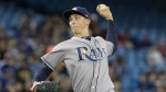 Tampa Bay Rays starting pitcher Blake Snell throws against the Toronto Blue Jays during the first inning of their AL baseball game in Toronto on Friday April 28, 2017. THE CANADIAN PRESS/Fred Thornhill