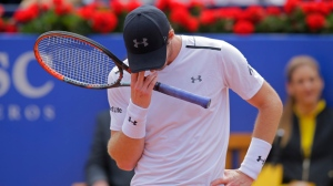Andy Murray of Britain reacts during his match against Dominic Thiem of Austria in a semifinal match at the Barcelona Open Tennis Tournament in Barcelona, Spain, Saturday, April 29, 2017. (AP Photo/Manu Fernandez)