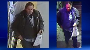 Surveillance camera stills of the man police have identified as a suspect in the fatal stabbing at the Sunalta LRT station (CPS)