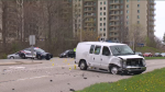 A damaged vehicle sits on a roadway in Kitchener. (Brody Atkinson / CTV Kitchener)