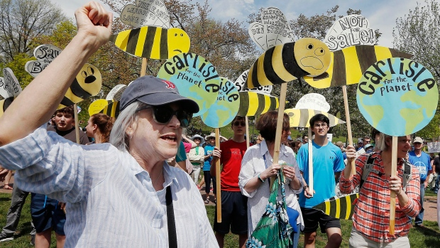 People gather for a climate rally on Boston Common in Boston, Saturday, April 29, 2017. (AP / Michael Dwyer)