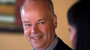 Progressive Conservative leader Jamie Baillie makes a campaign stop at Tom's Family Restaurant in Lower Sackville, N.S. on Sunday, Oct. 6, 2013. Nova Scotia's Tories and New Democrats say the provincial election race is in full swing following a Liberal gaffe suggesting the writ could drop as early as this weekend. (THE CANADIAN PRESS / Andrew Vaughan)