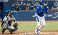 Toronto Blue Jays' Justin Smoak hits a two run homerun against the Tampa Bay Rays in the sixth inning of their AL baseball game in Toronto on Saturday April 29, 2017. THE CANADIAN PRESS/Fred Thornhill