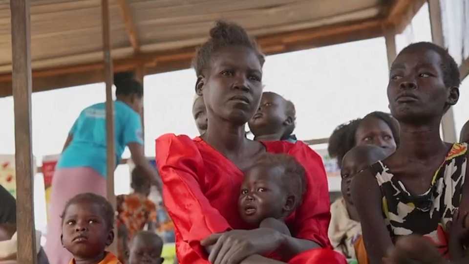 Women and children in Somalia are seen here.