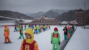 Members of a 'ski camp' at the Masikryong ski resort, near North Korea's east coast port city of Wonsan. (Ed JONES / AFP)