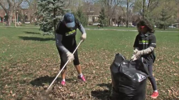 Volunteers rake leaves in a Montreal park.
