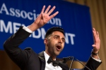 The Daily Show correspondent Hasan Minhaj entertains the guests at the White House Correspondents' Dinner in Washington, Saturday, April 29, 2017. (AP / Cliff Owen)