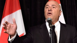 Kevin O'Leary addresses a news conference in Toronto, Wednesday, April 26, 2017, after it was announced that he had quit the leadership race and thrown his support behind candidate Maxime Bernier. THE CANADIAN PRESS/Nathan Denette