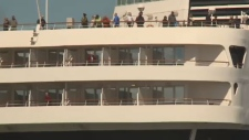 A British woman was rescued Sunday after falling from a cruise ship.