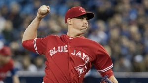Toronto Blue Jays starting pitcher Aaron Sanchez throws against the Tampa Bay Rays during the first inning of their American League MLB baseball game in Toronto on Sunday, April 30, 2017. (Fred Thornhill / THE CANADIAN PRESS)