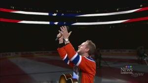 Edmonton Oilers fans sing U.S. national anthem