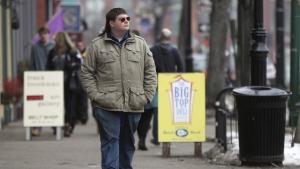 Chaz Wing walks down Maine Street in Brunswick, Maine on Feb. 24, 2017. (AP / Robert F. Bukaty)